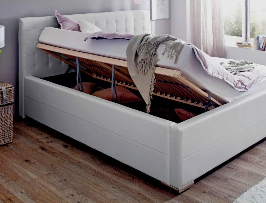 Doppelbett Weis Mit Bettkasten Polsterbett Toni 180X200 Kunstleder von Doppelbett 180X200 Mit Bettkasten Bild