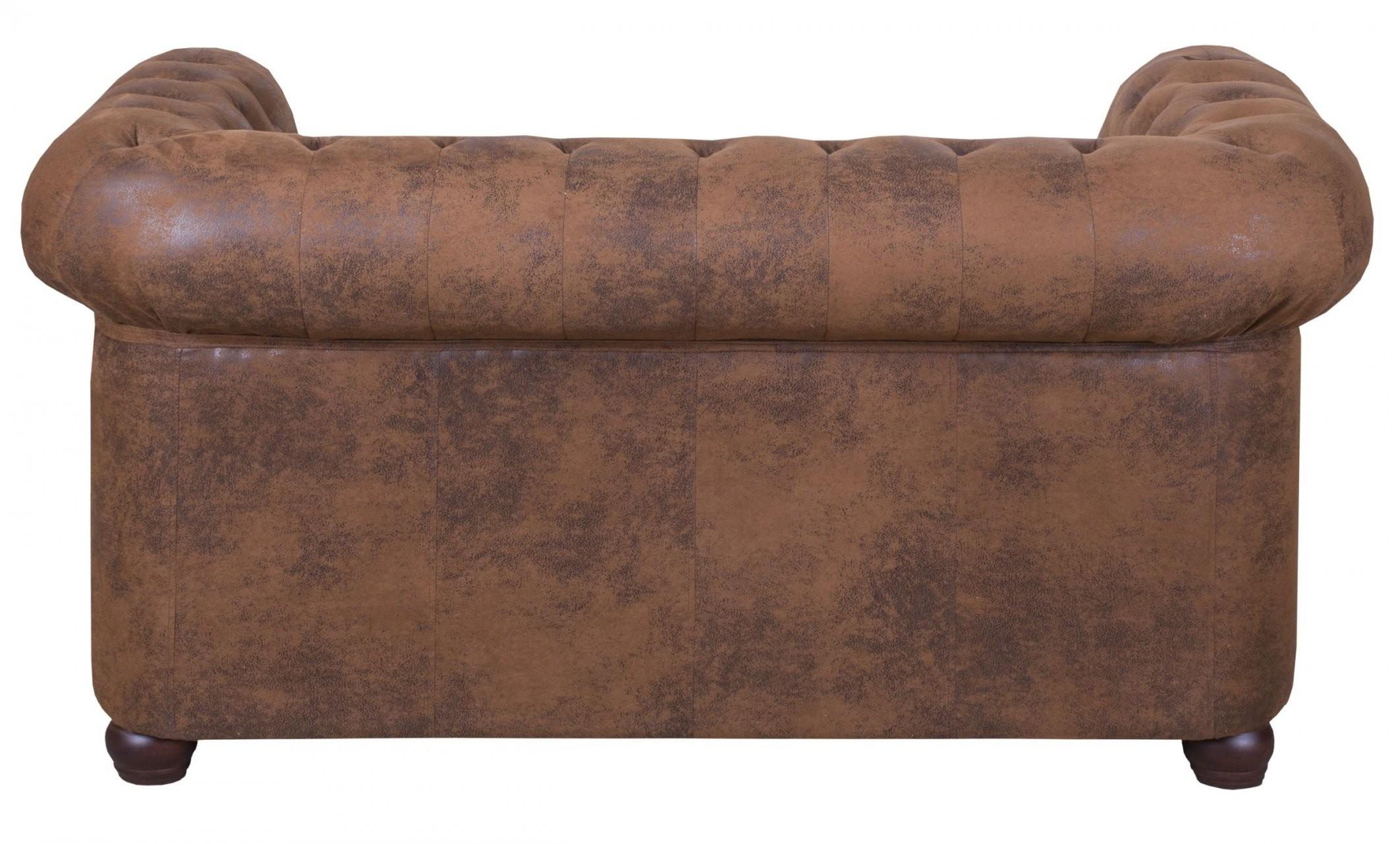 Edles Chesterfield Sofa 2 Sitzer In Mikrofaser Vintage Braun Couch von Sofa 2 Sitzer Billig Bild