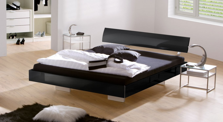 Edles Hochglanzschwebebett In Schwarz Zb 140X200 Cm  Timeless von Moderne Betten 140X200 Bild