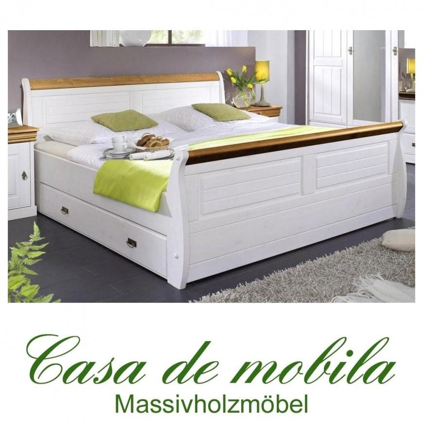 Einzelbett Bettgestell Mit Schubladen 100X200 Weiß Honig Holz Avec von Bett Mit Schubladen 100X200 Bild