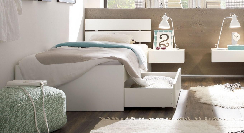 Einzelbett In Zb 100X200 Cm Mit Schubladen In Weiß  Mocuba von Bett Mit Schubladen 100X200 Bild
