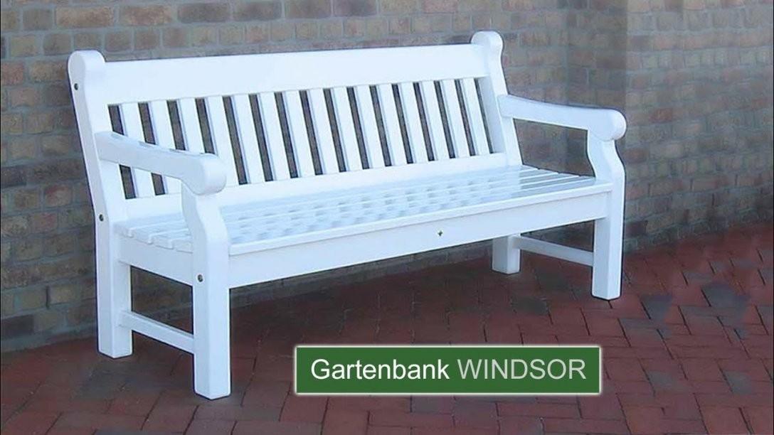 Englische Gartenbank Windsor  Hartholz Weiss  25 Jahre Garantie von Weiße Gartenbank Holz Photo