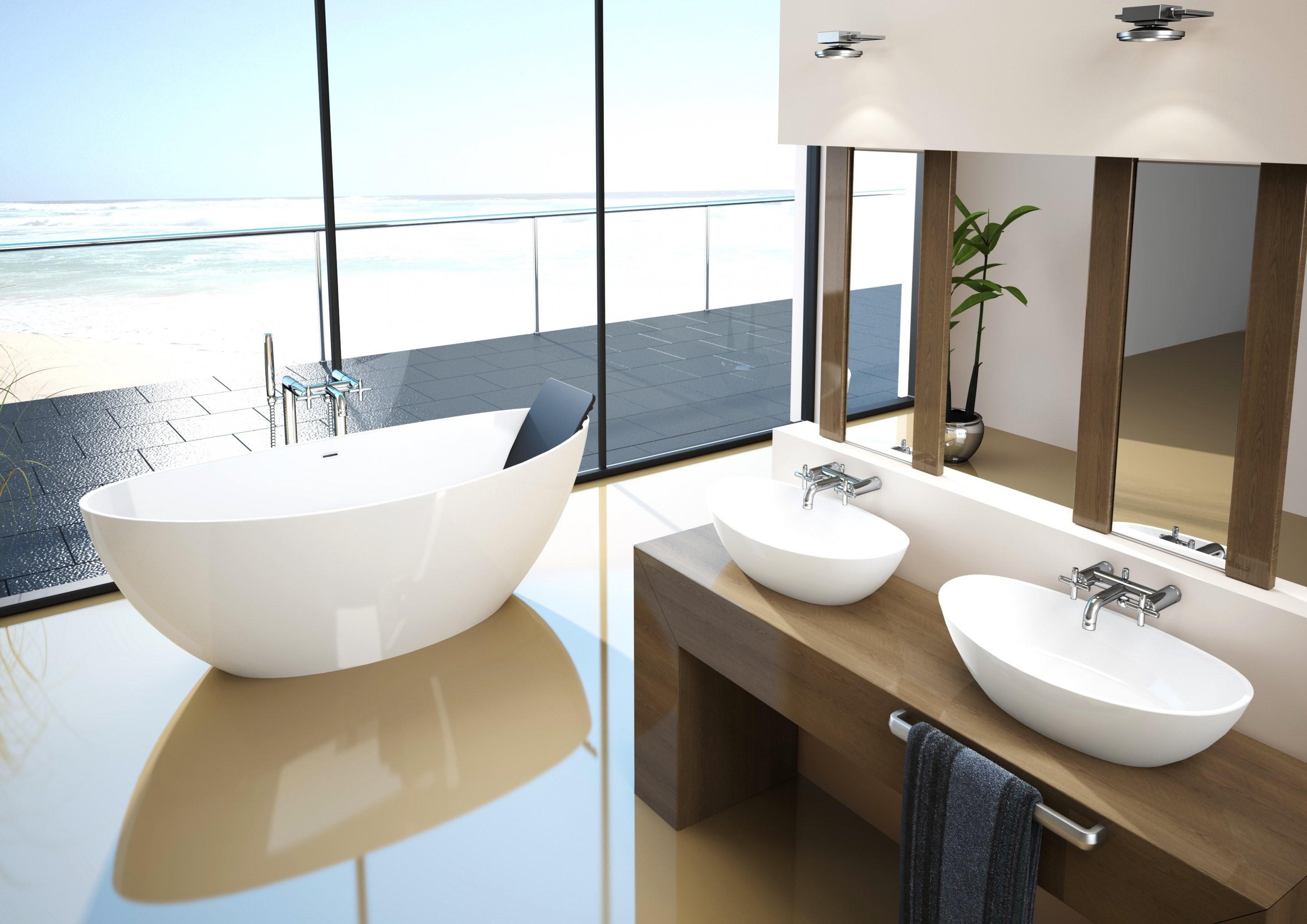 Erstaunlich Bad Mit Freistehender Badewanne Design Idee Mit Einer von Bad Mit Freistehender Badewanne Bild