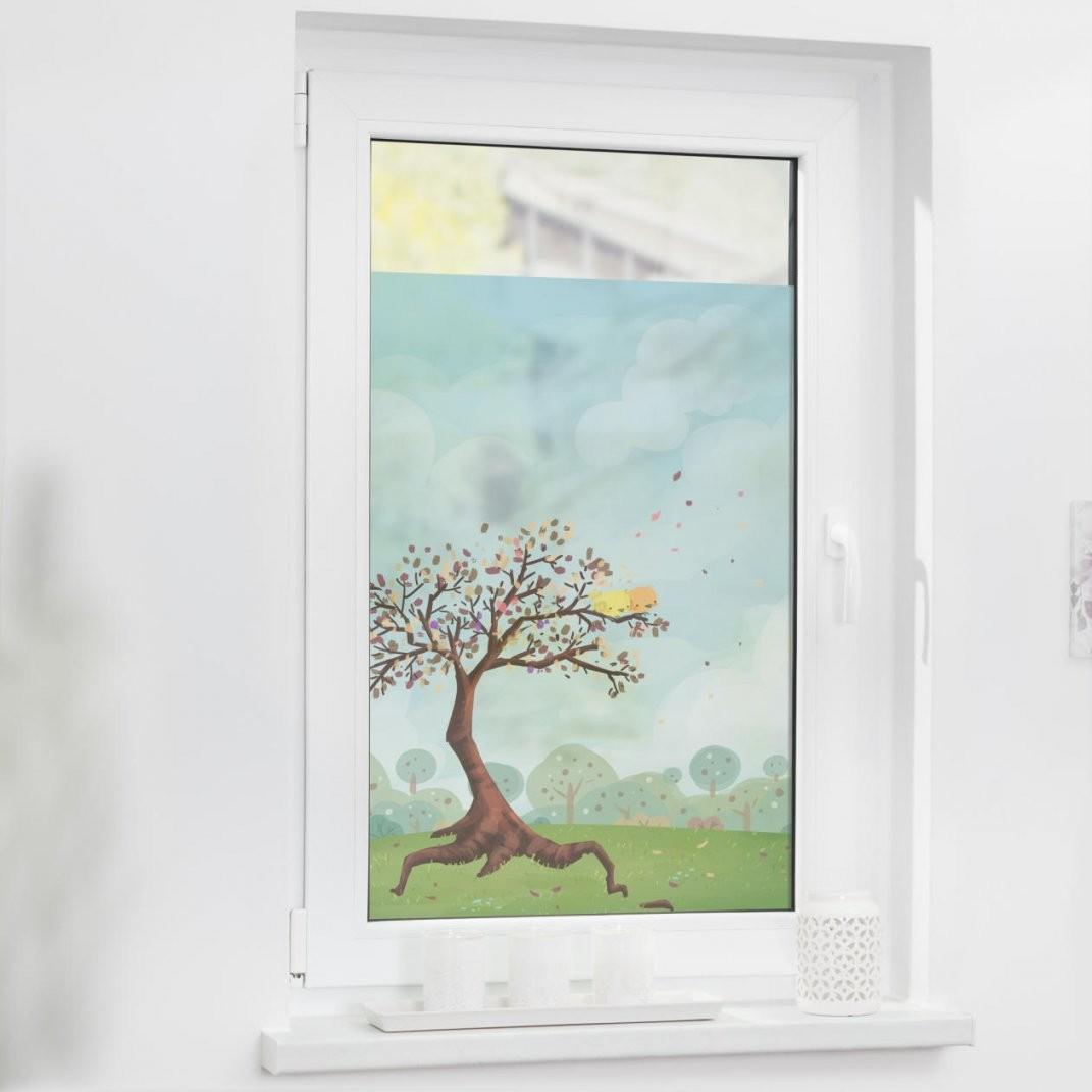 Fensterfolie Selbstklebend Sichtschutz Märchenbaum  Bunt von Fensterfolie Sichtschutz Nach Maß Bild