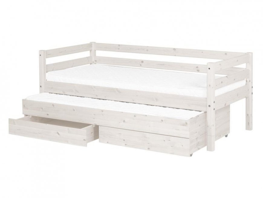 Flexa Classic Bettliege Weiß Mit Gästebett Schubladen Rückenleiste von Bett Mit Gästebett Und Schubladen Bild