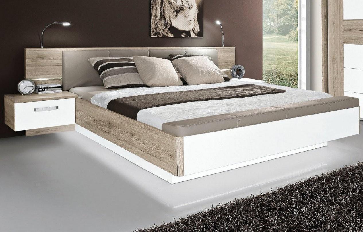 Forte Bett Rondino Weiß Hochglanz  Sandeiche Nachbildung  Möbel von Bett 180X200 Weiß Hochglanz Photo