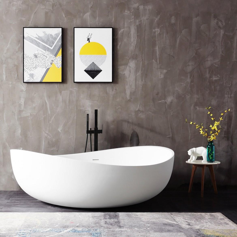 Freistehende Badewanne Aus Mineralguss Wave Stone Weiß  180 X 110 von Bilder Freistehende Badewanne Bild