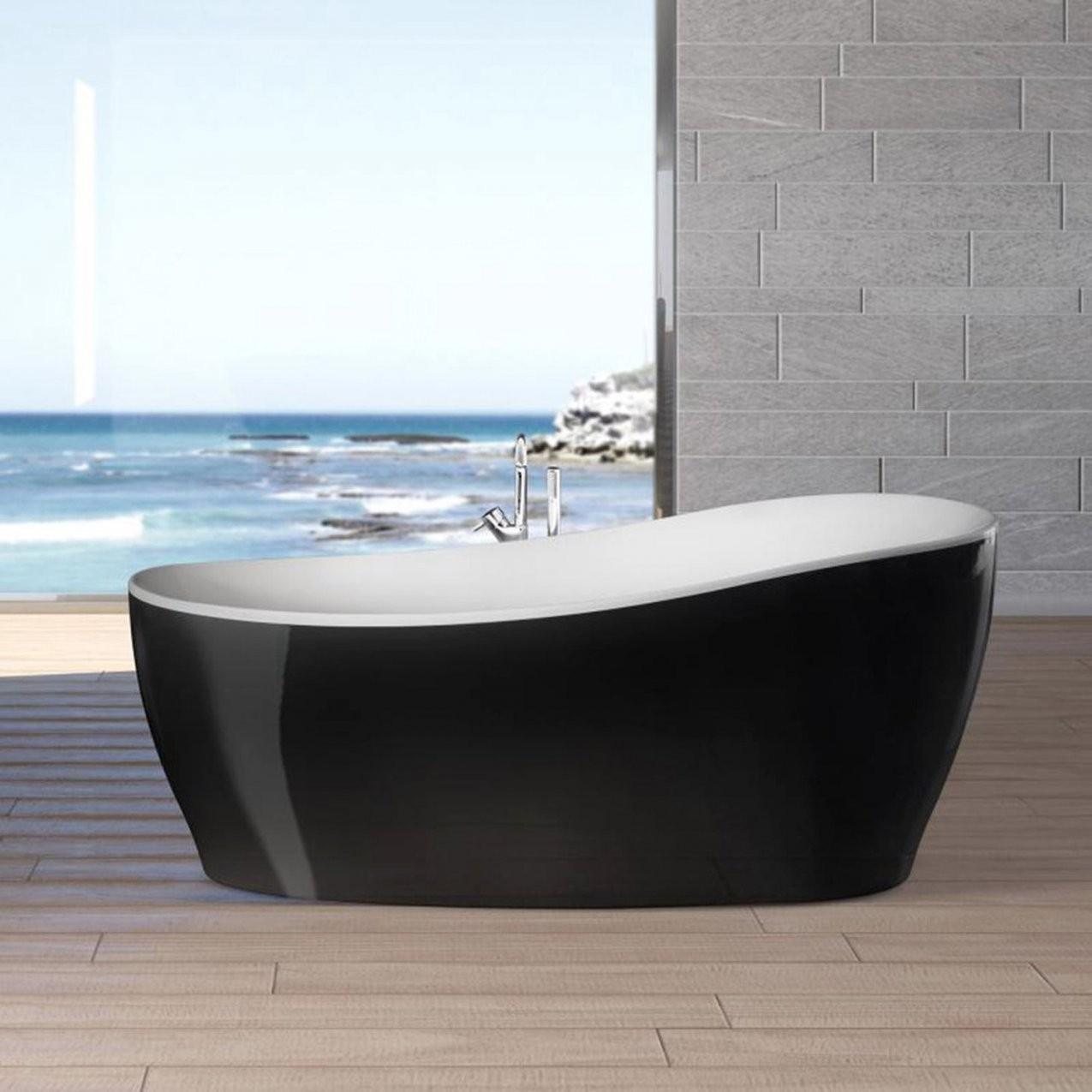 Freistehende Badewanne Aviva 180 Cm X 85 Cm Schwarzweiß Kaufen Bei Obi von Freistehende Badewanne Schwarz Photo