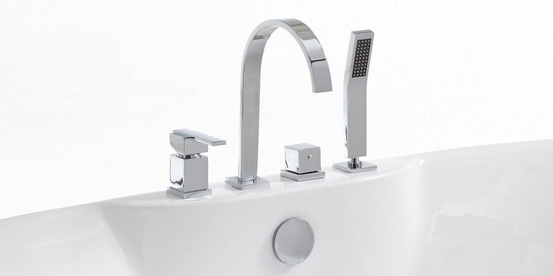 Freistehende Badewanne Mit Armatur Brause Messing Chrom Kiel von Armatur Für Freistehende Badewanne Bild