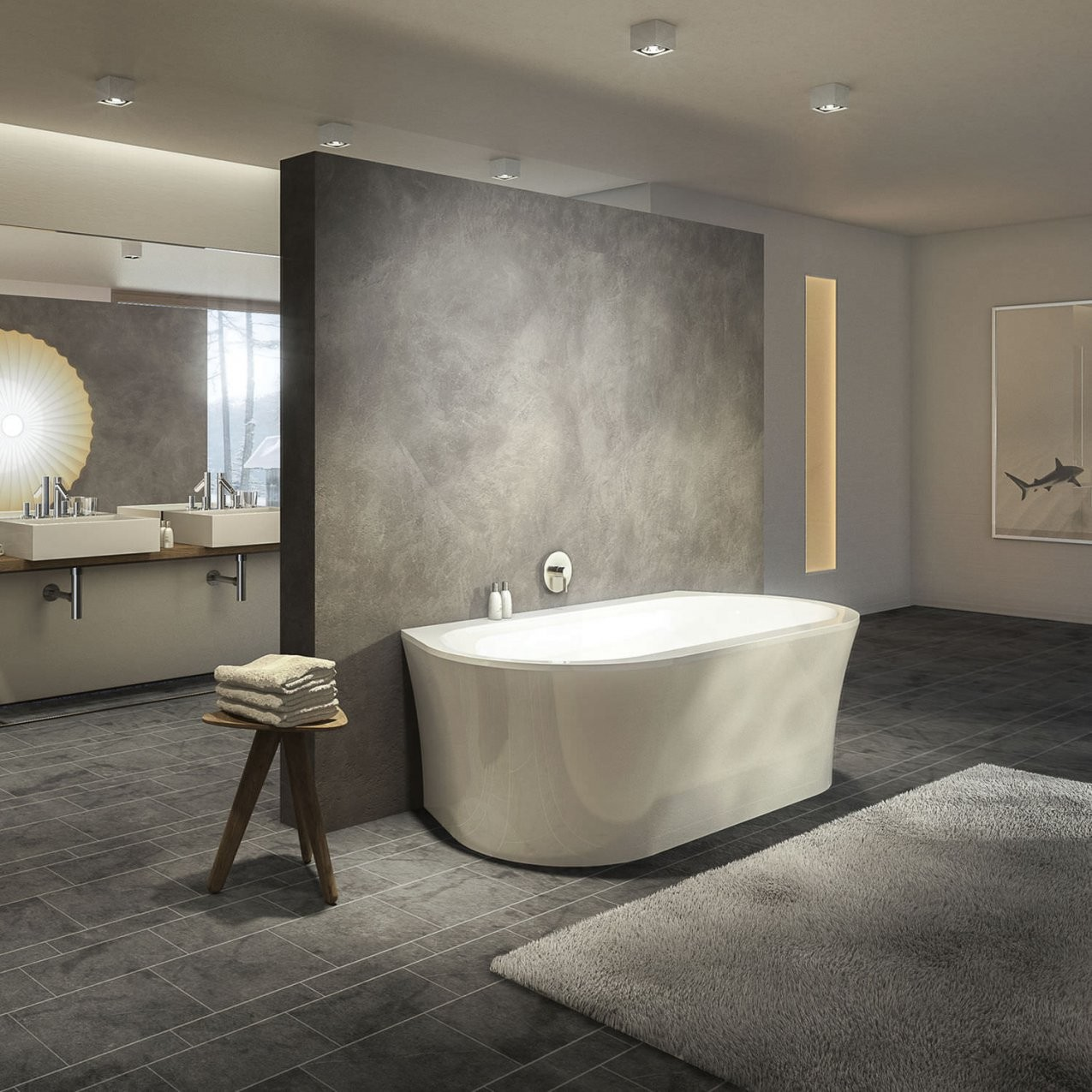 Freistehende Badewanne  Oval  Aus Acryl  Primeline Wall von Freistehende Badewanne An Der Wand Bild