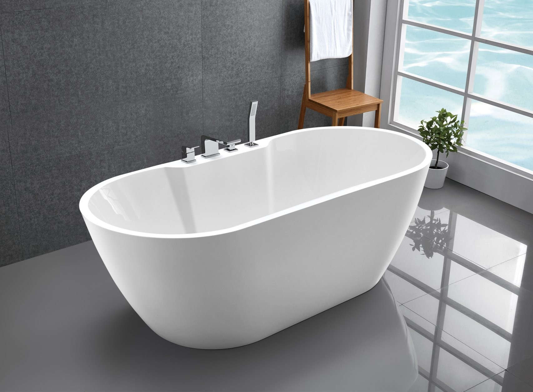 Freistehende Badewanne Standbadewanne Acryl Jazz Plus Weiß 170 X 80 von Acryl Badewanne Freistehend Bild