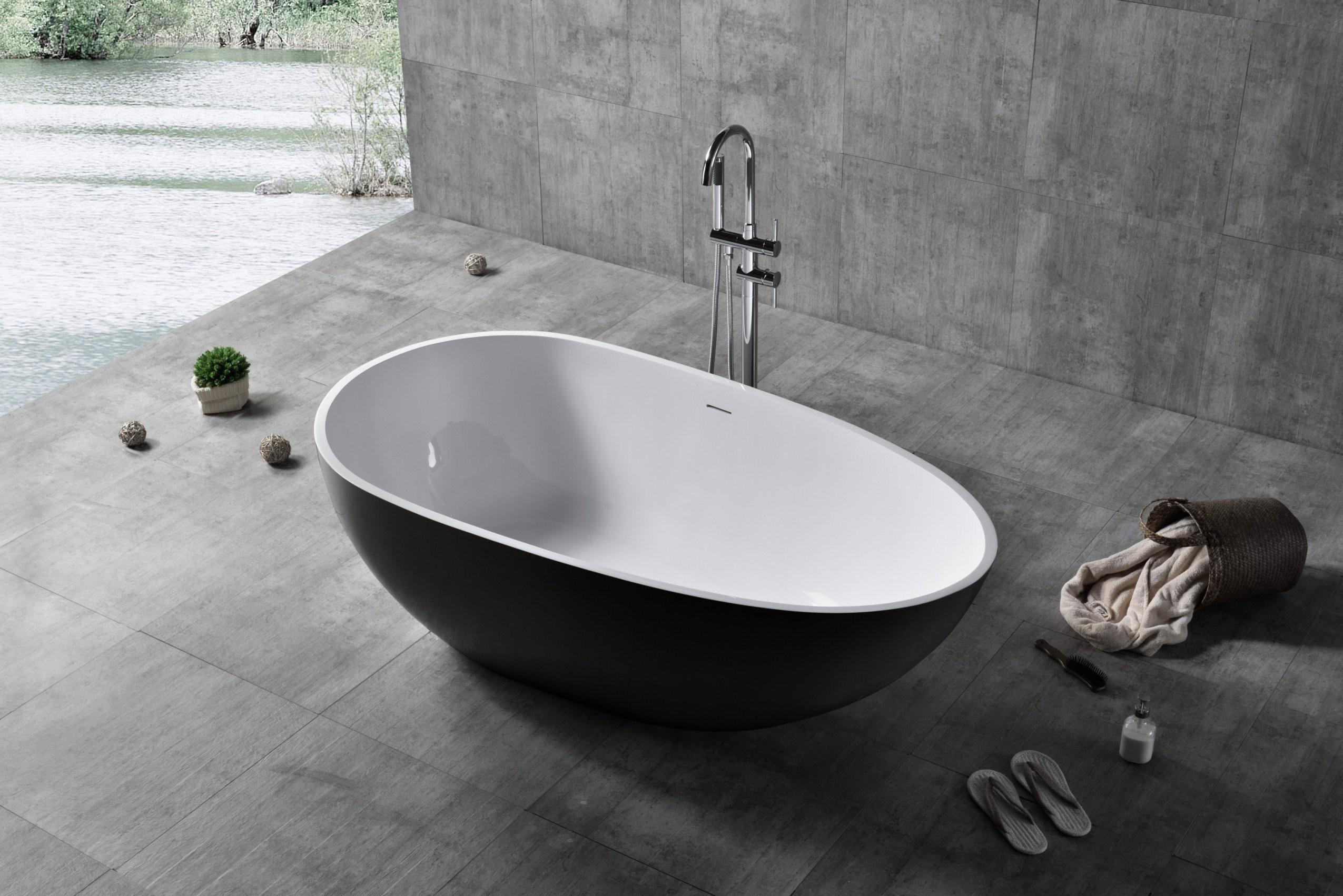 Freistehende Badewanne Vela Aus Mineralguss Solid Stone  Farbe Und von Freistehende Badewanne Schwarz Bild