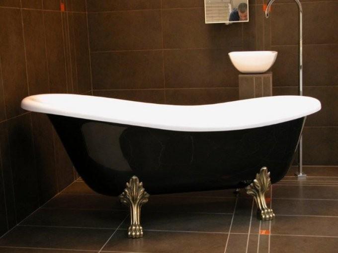 Freistehende Luxus Badewanne Jugendstil Roma Schwarzweißaltgold von Badewanne Freistehend Antik Bild
