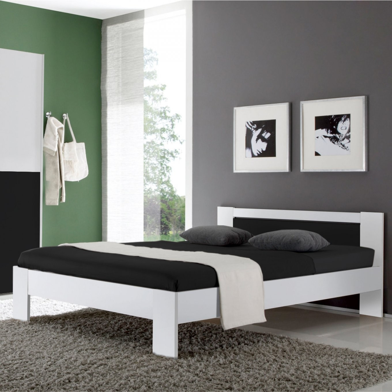Futonbett Vega Bett In Weiß Und Schwarz Inkl Rollrost Und Matratze von Matratze 120X200 Federkern Bild