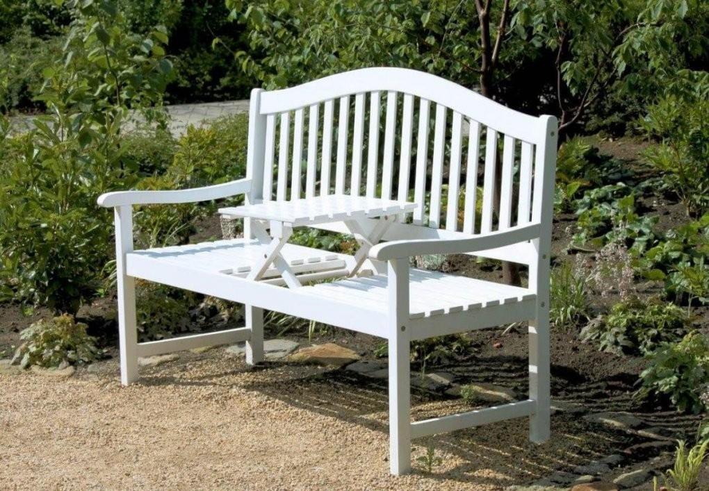 Gartenbank Mit Hochklappbarem Tisch Aus 100% Eukalyptus Weiß von Weiße Gartenbank Holz Photo