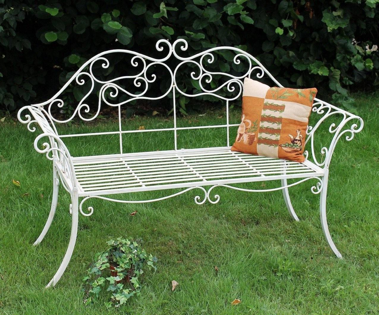 Gartenbank Weiß Metall Antik Romance Schmiedeeisen Sitzbank  Antike von Gartenbank Gusseisen Weiß Photo
