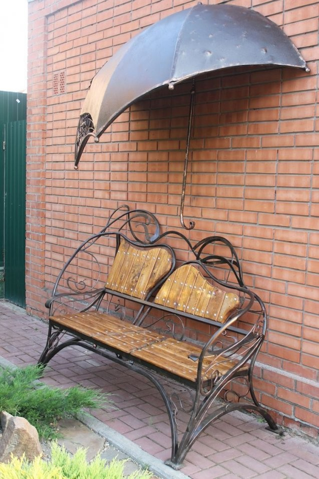 Gartendeko Aus Metall  17 Vielfältige Ideen Mit Industriellem Charakter von Sitzbank Garten Metall Bild