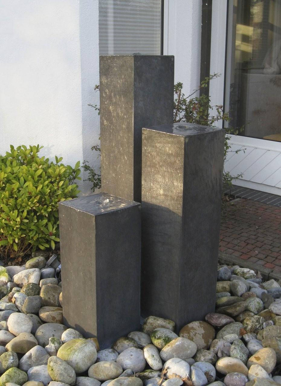 Gartenspringbrunnen  Zink  Zinkart Säulen  Slink  Ideen Mit Wasser von Steinsäulen Für Den Garten Bild