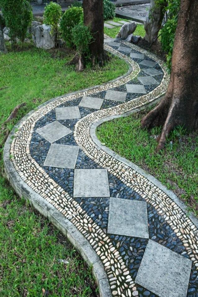 Gartenwege Anlegen Ideen Fur Den Kiesweg Garten Muster Fliesen Stein von Garten Fliesen Stein Photo