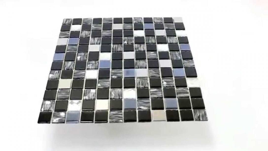 Glas Edelstahl Mosaikfliesen Selbstklebend Schwarz Silber  Youtube von Mosaik Fliesen Selbstklebend Bild