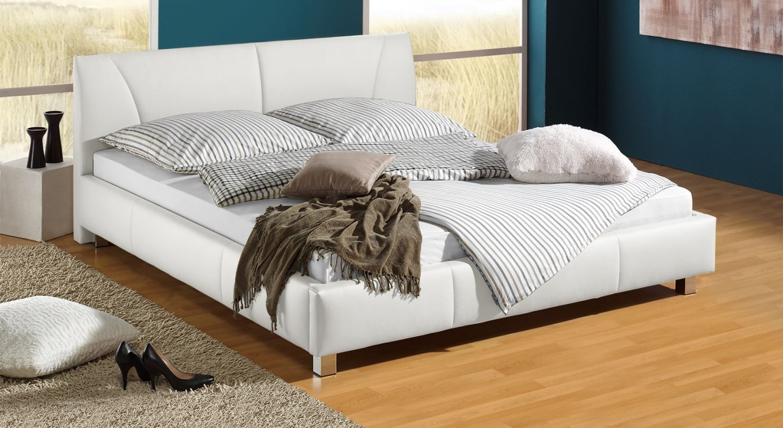 Günstiges Polsterbett Z B In Weiß 140X200 Cm  Sona von Bett 140X200 Weiß Kunstleder Bild
