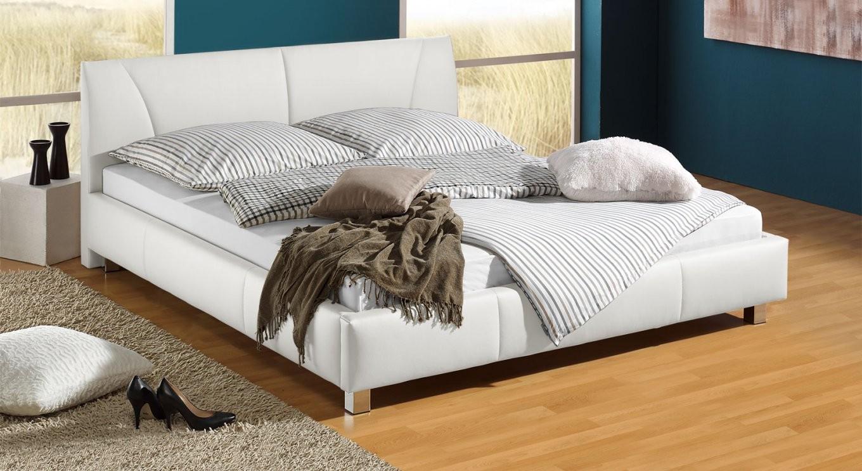 Günstiges Polsterbett Z B In Weiß 140X200 Cm  Sona von Kunstleder Bett Weiß 140X200 Photo