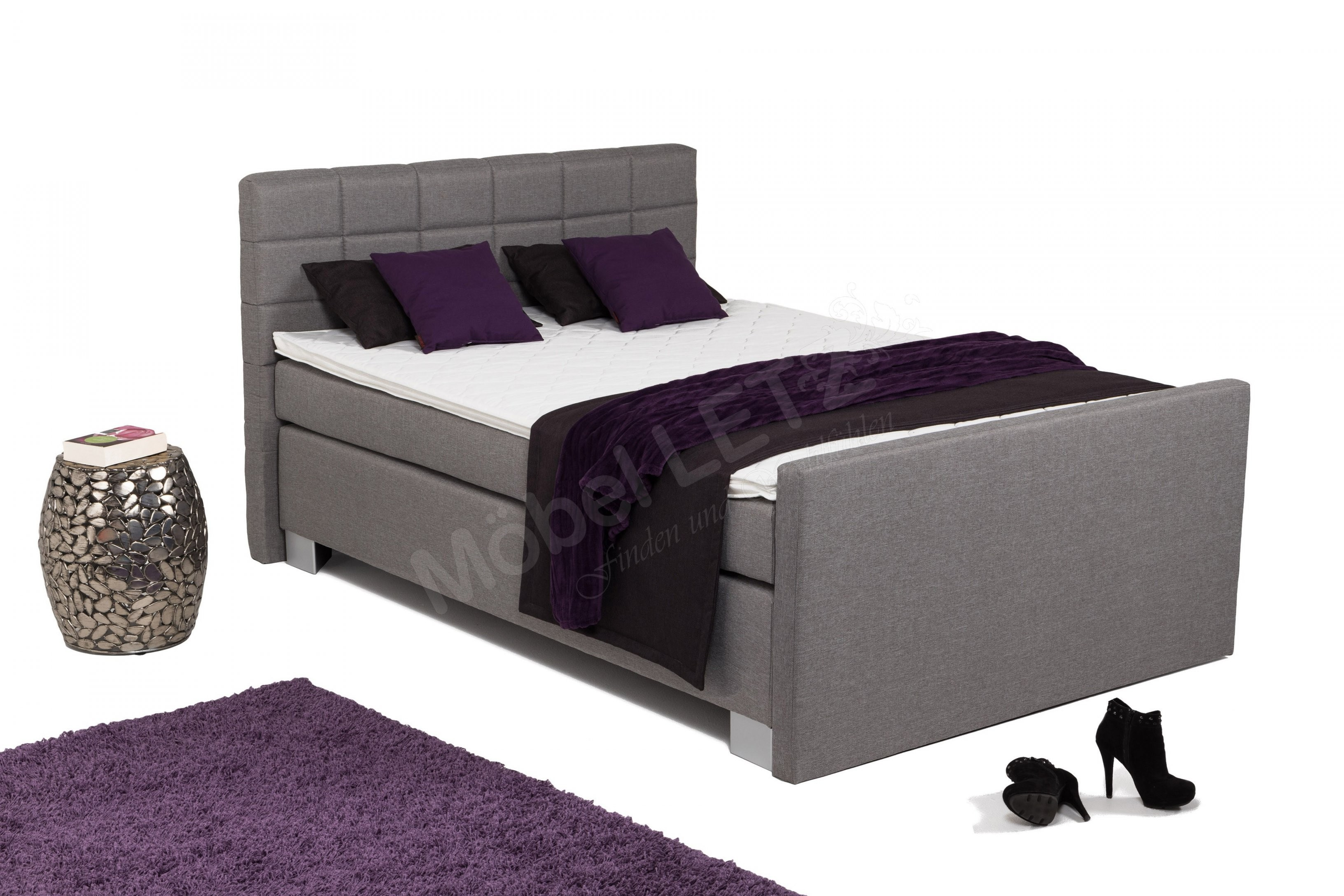 Hapo Boxspringbett Boston In Grau Ca 140 X 200 Cm  Möbel Letz von Boxspringbett Boston 140X200 Photo
