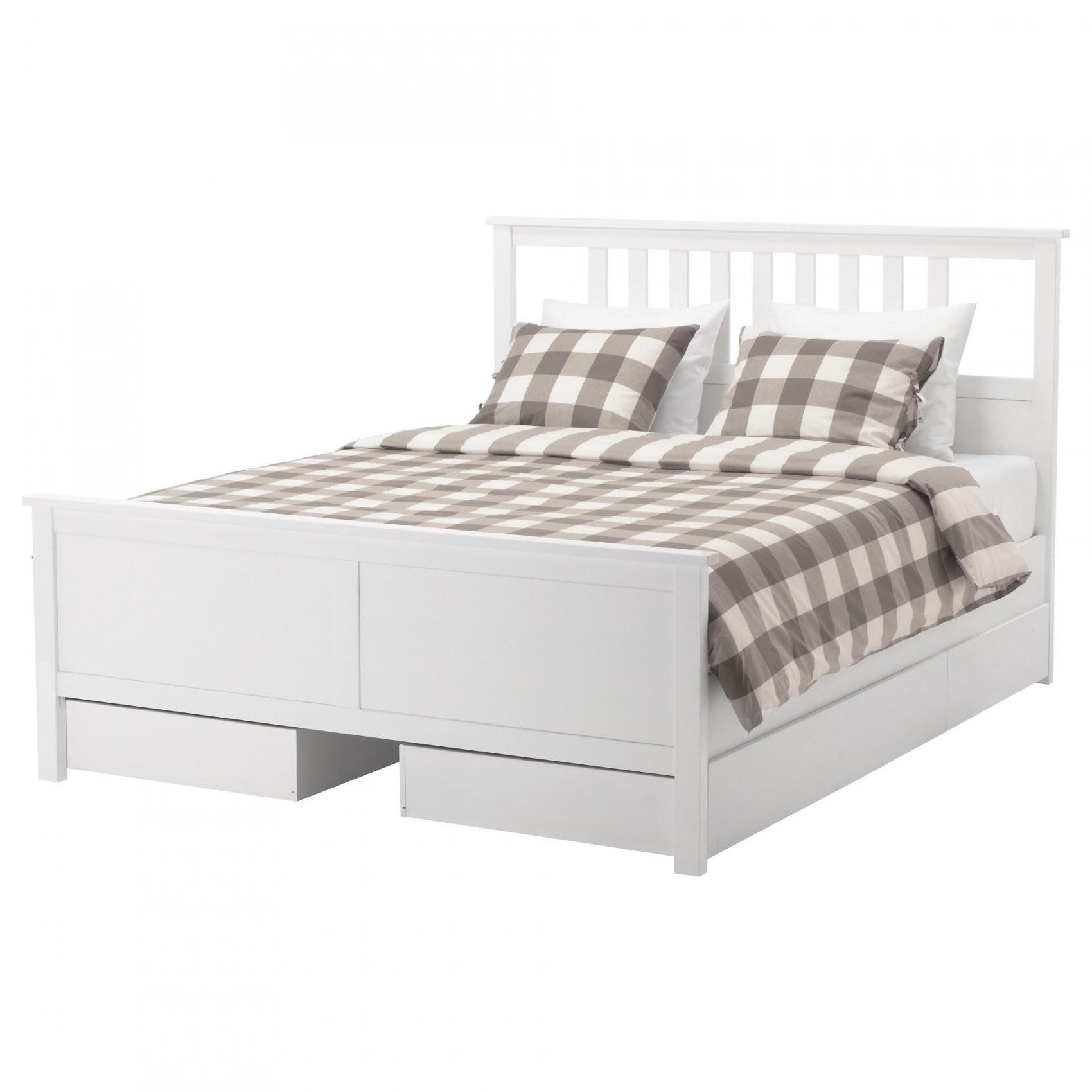 Hemnes Bettgestell Mit 4 Schubladen  180X200 Cm  Weiß Gebeizt  Ikea von Ikea Bett Weiß 180X200 Bild