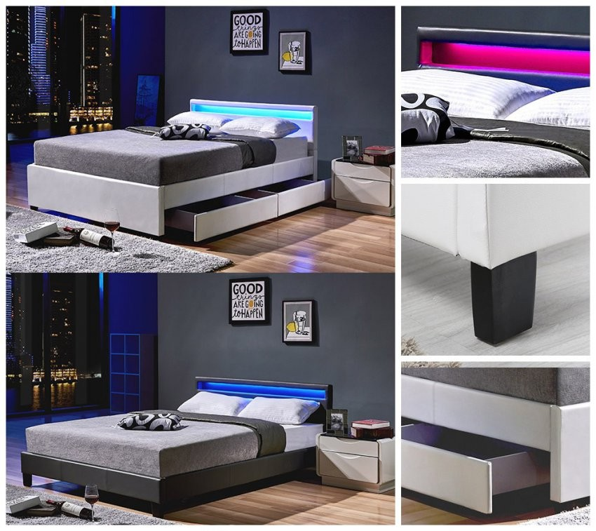 Home Deluxe Led Doppelbett Lederbett Bettgestell Lattenrost von Led Bett 140X200 Photo