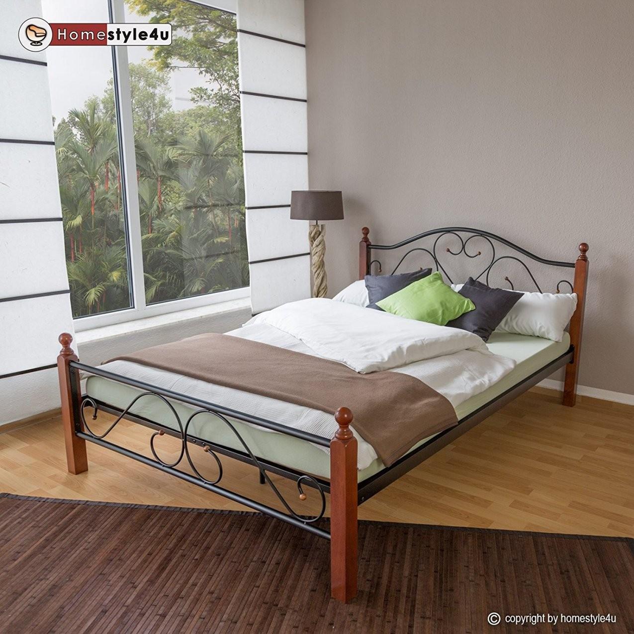Homestyle4U Metallbett 160 X 200 Bettgestell Doppelbett Bettrahmen + von Bettgestell 160X200 Günstig Photo