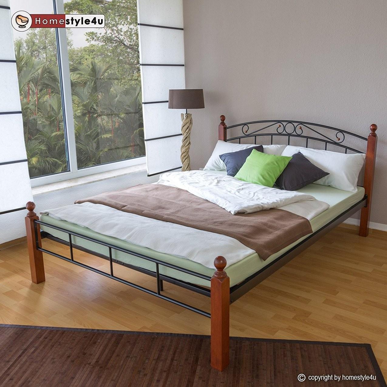 Homestyle4U Metallbett Bett Doppelbett 160 X 200 + Lattenrost von Bettgestell 160X200 Günstig Bild