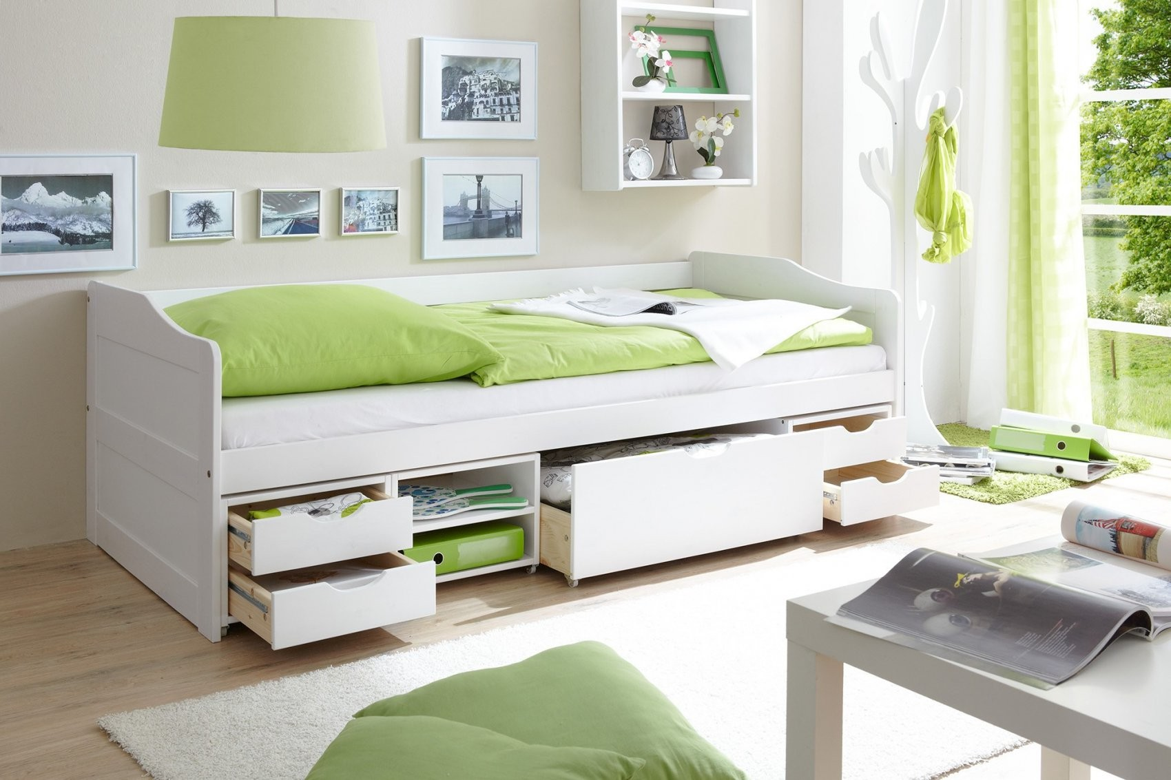 Jugendbett Mit Bettkasten  Schubladen Günstig Online Kaufen  Real von Bett Weiß 90X200 Mit Schubladen Bild