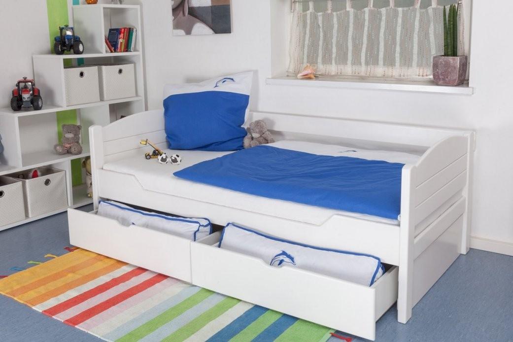 """Kinderbett  Jugendbett """"easy Möbel"""" K1S Voll Inkl 2 Schubladen Und von Bett Weiß 90X200 Mit Schubladen Photo"""