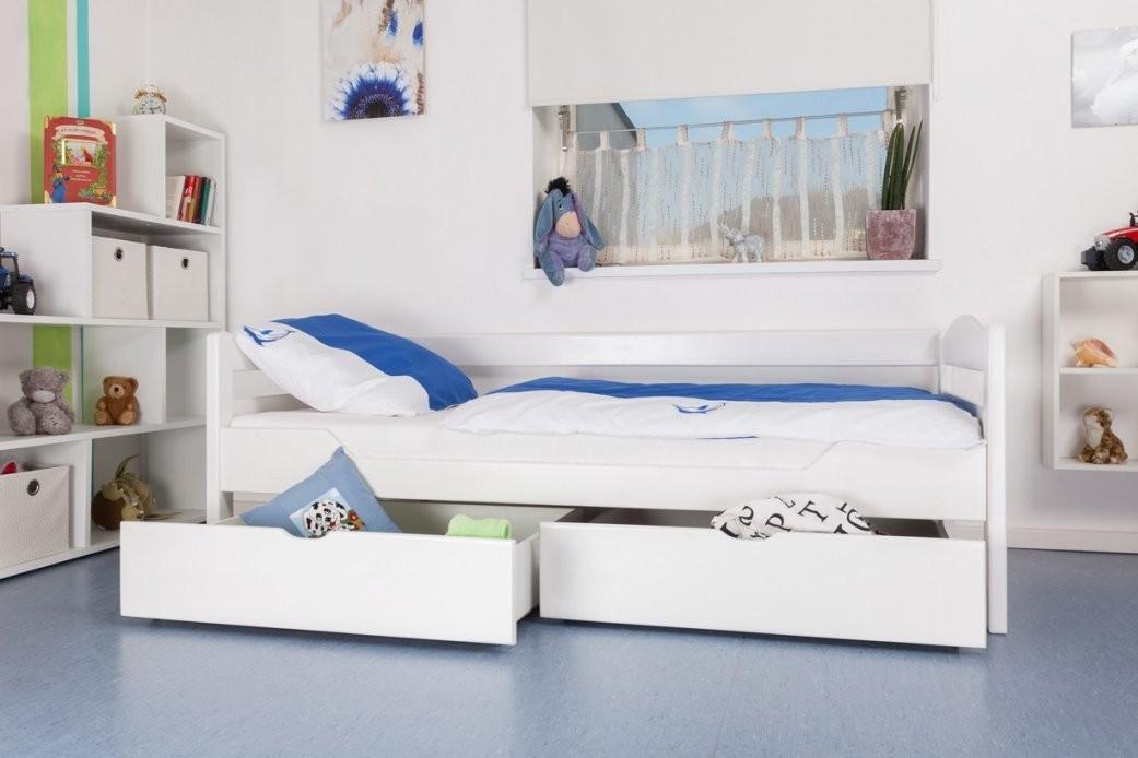 Kinderbett  Jugendbett Easy Premium Line K1Ns Inkl 2 Schubladen Und 2  Abdeckblenden 90 X 200 Cm Buche Vollholz Massiv Weiß Lackiert von Weißes Bett Mit Schubladen Bild