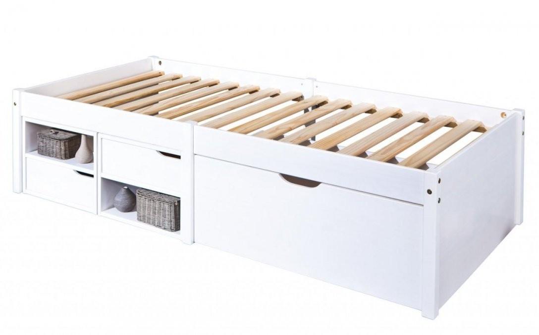 Kinderbett Varum 90 X 200 Kiefer Massiv Weiß Lackiert Mit Schubladen von Bett Weiß 90X200 Mit Schubladen Photo