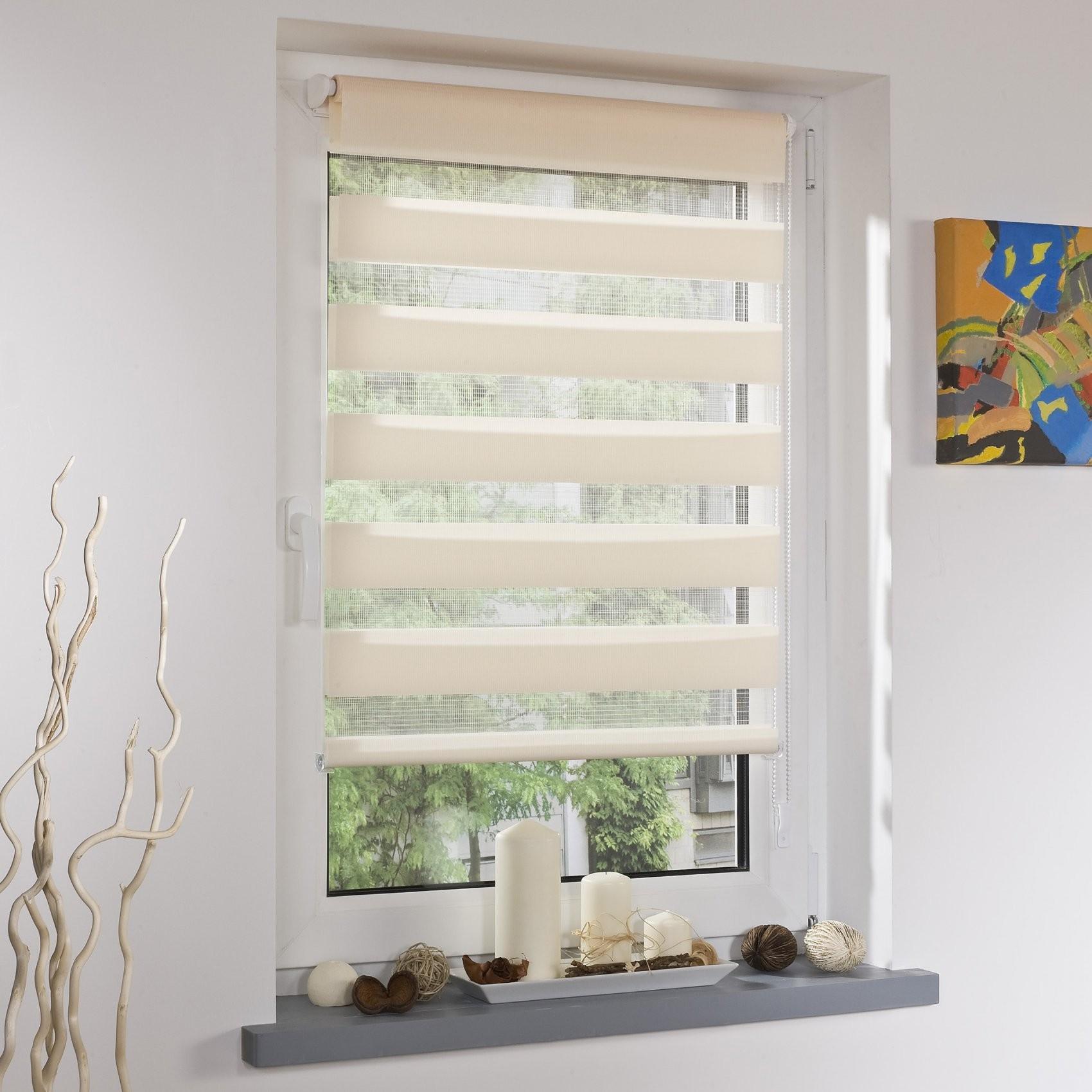 Klemmfix Duorollo Mini Inklusive Klemmträger 080 X 160 Cm  Apricot von Fenster Rollos Aus Stoff Bild