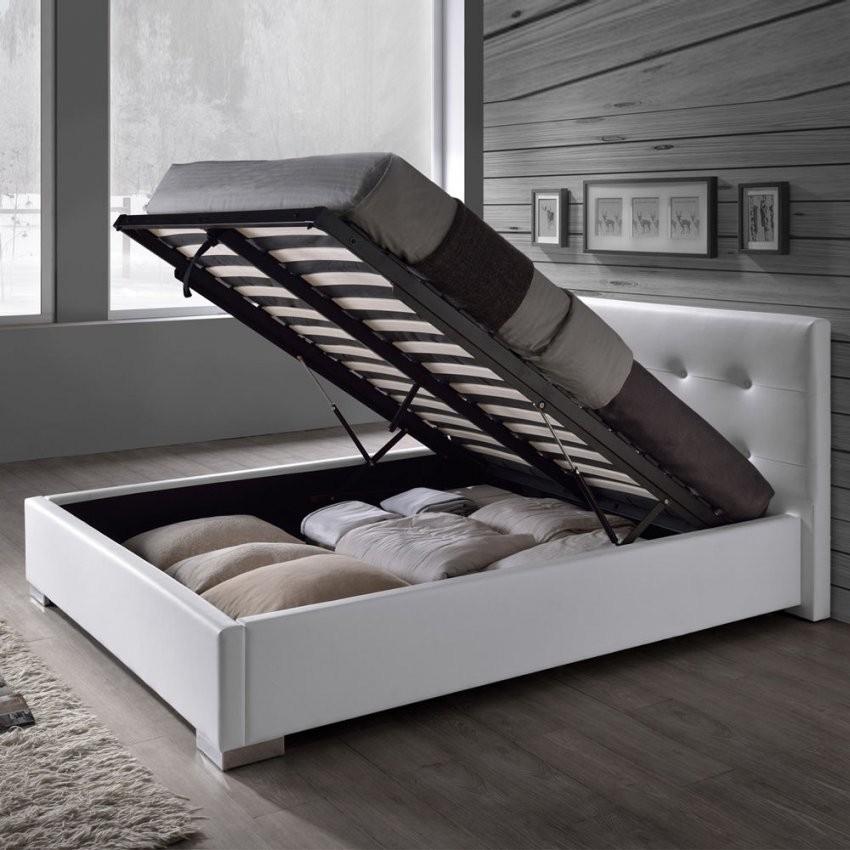 Kunstlederbett Bettkasten Lattenrost Doppelbett 140 160 180X200 von Kunstleder Bett Weiß 140X200 Bild