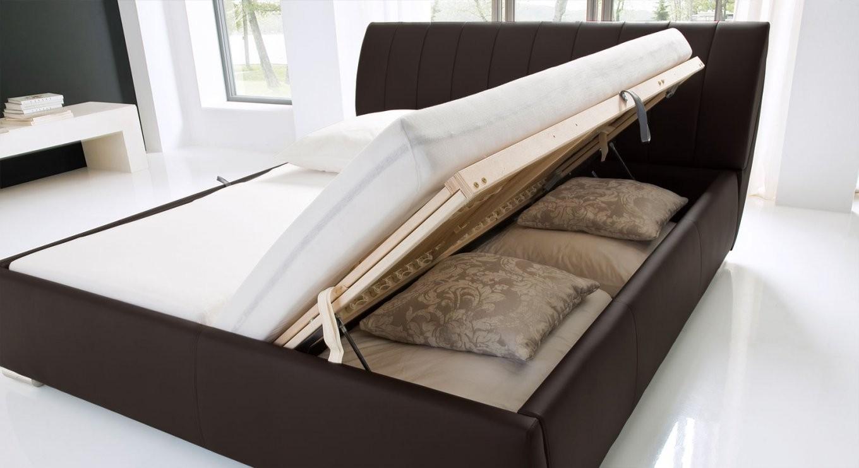 Kunstlederbett Mit Bettkasten Und Lattenrost  Lewdown von Bett Mit Stauraum 180X200 Photo