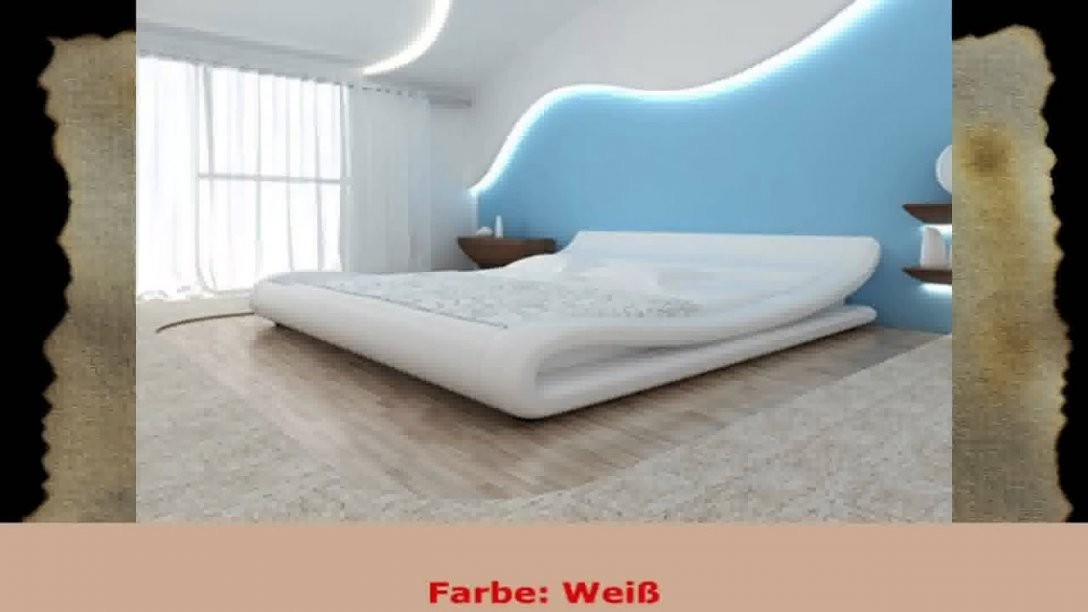 Kunstlederbett Polsterbett Bettgestell Bett Lattenrost Bettrahmen von Kunstleder Bett Weiß 140X200 Photo
