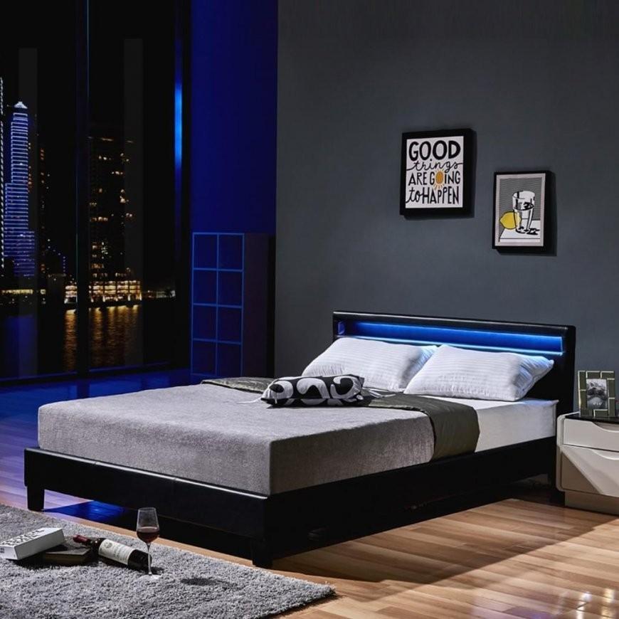 Led Bett Astro 140 X 200 Schwarz Klassisches Bett  Real von Bett 140X200 Mit Led Photo