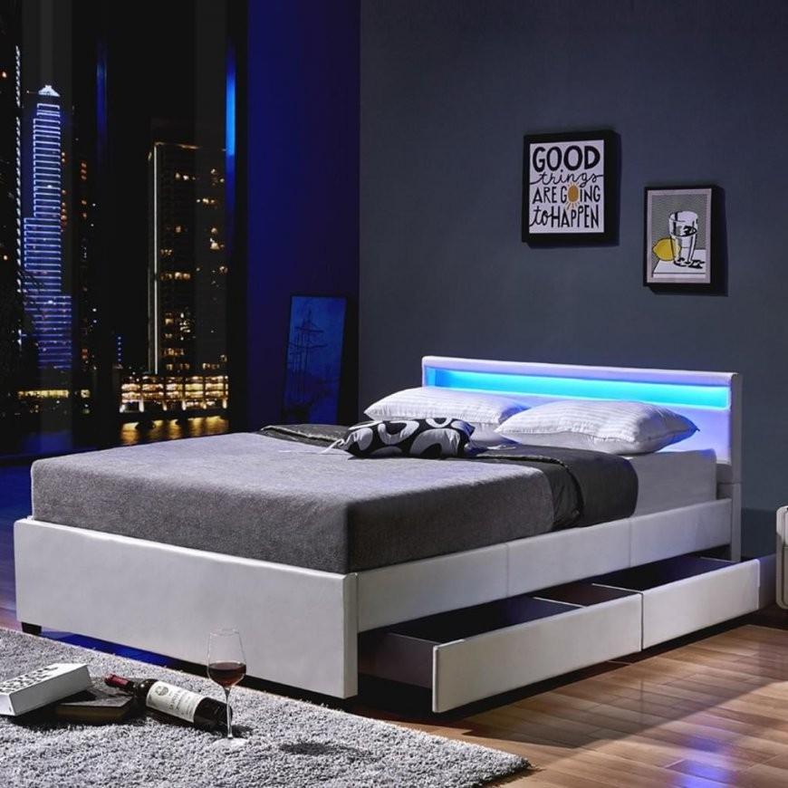 Led Bett Nube Mit Schubladen 140 X 200 Weiß  Real von Bett 140X200 Mit Led Bild