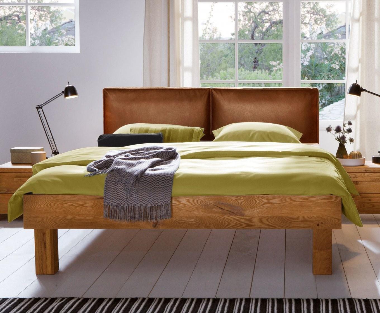 Massiver Wildeichebettrahmen Morena Mit Lederkopfteil von Bett 180X200 Massivholz Komforthöhe Photo