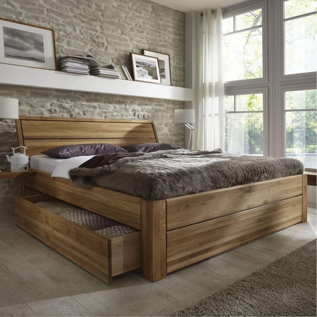 Massivholz Schubladenbett 180X200 Holzbett Bett Eiche Massiv Geölt von Bett 180X200 Komforthöhe Bild