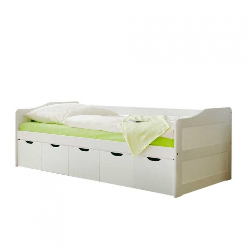 Massivholzbett Fiorina In Weiß Mit Schubladen  Pharao24 von Bett 90X200 Mit Schubladen Bild