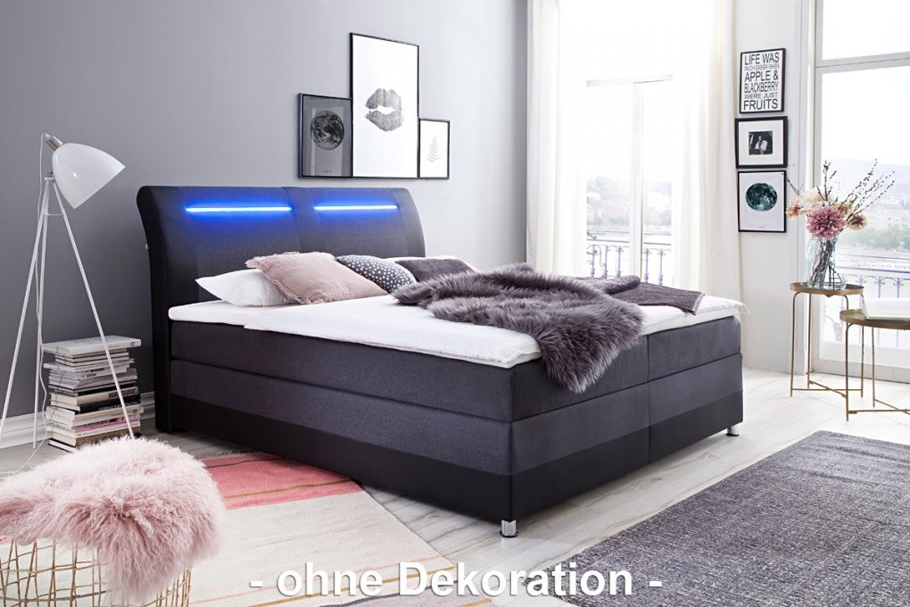 Meise Boxspringbett Flash  Kunstleder Schwarz  Stoff Sawana von Boxspringbett 140X200 Led Photo