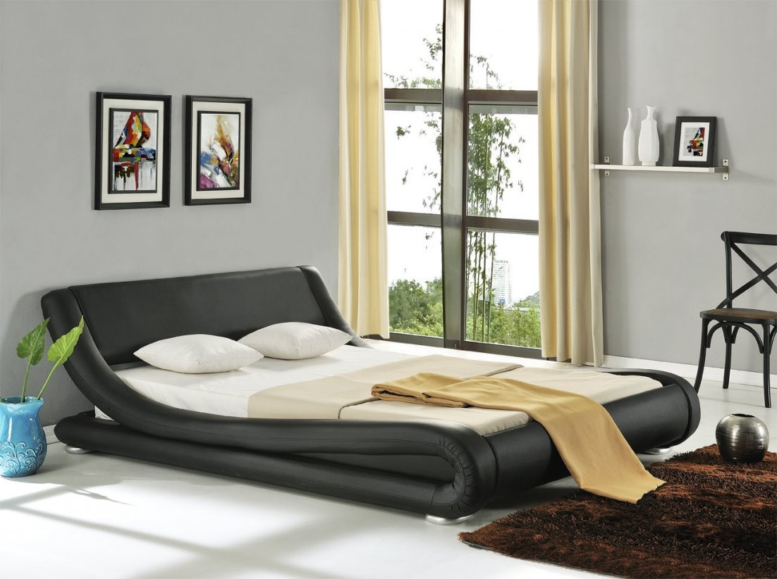 Modernes Lederbett Polsterbett Bett 180X200 Schwarz Doppelbett Pu von Modernes Bett 180X200 Bild