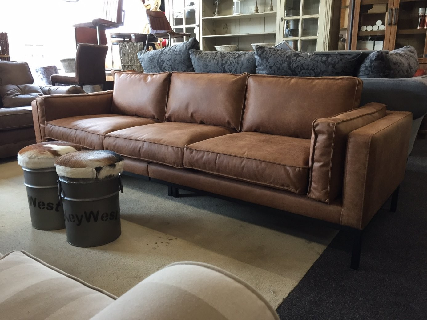Modernes Loungesofa Silvana In Schmutzabweisendem Ecoleder Cognac von Sofa 4 Sitzer Leder Bild