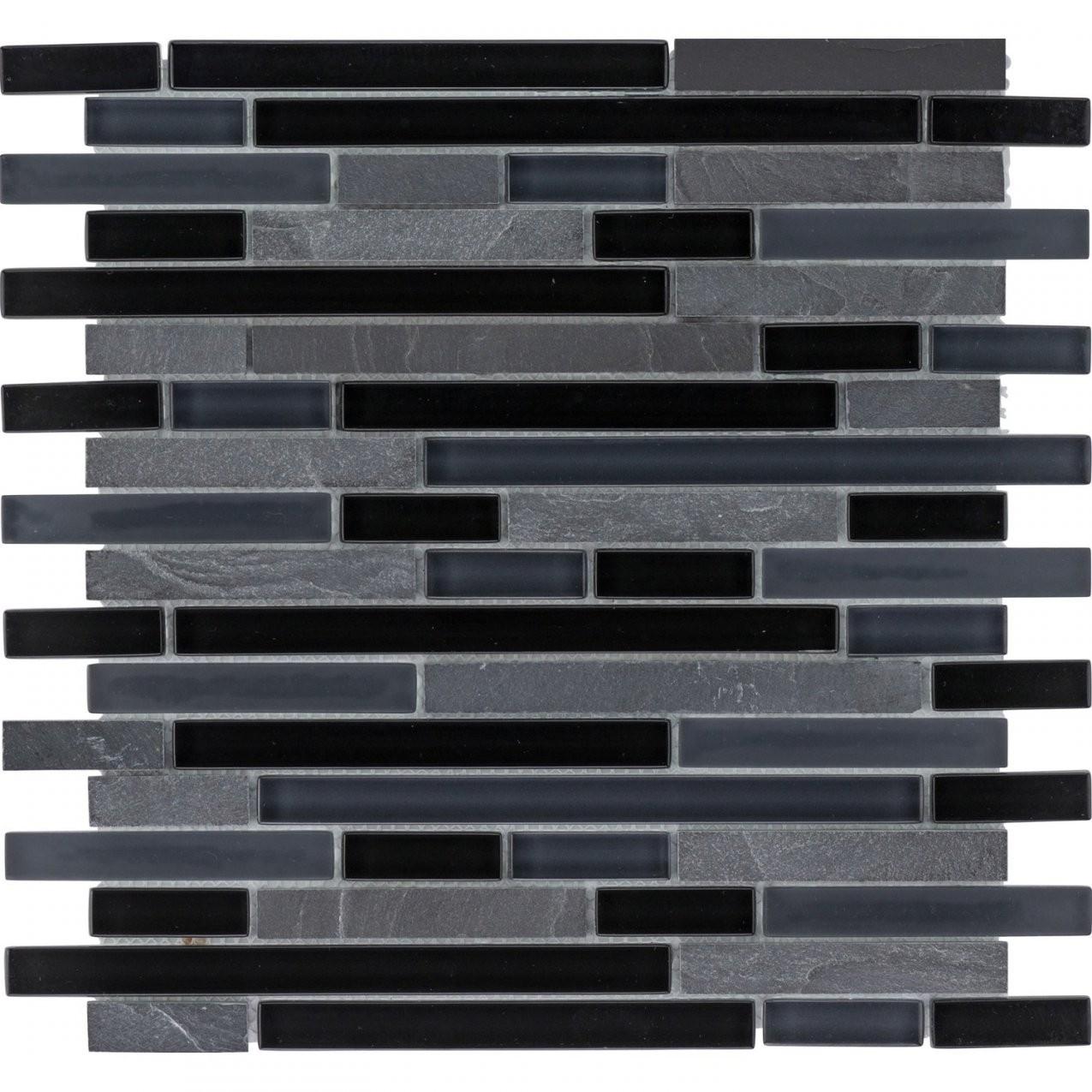 Mosaikmatte Glas & Schiefer Black Line 30 Cm X 30 Cm Kaufen Bei Obi von Mosaik Fliesen Obi Bild