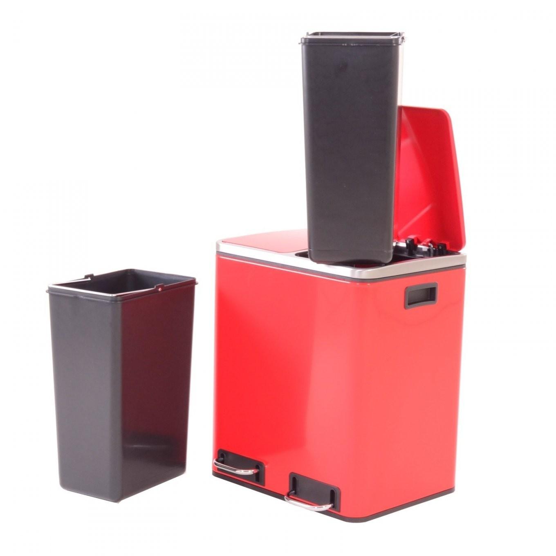 Mülleimer Küche Rot  Rotho Paso Treteimer 20 Liter Rot Schwarz von Design Mülleimer Küche Photo