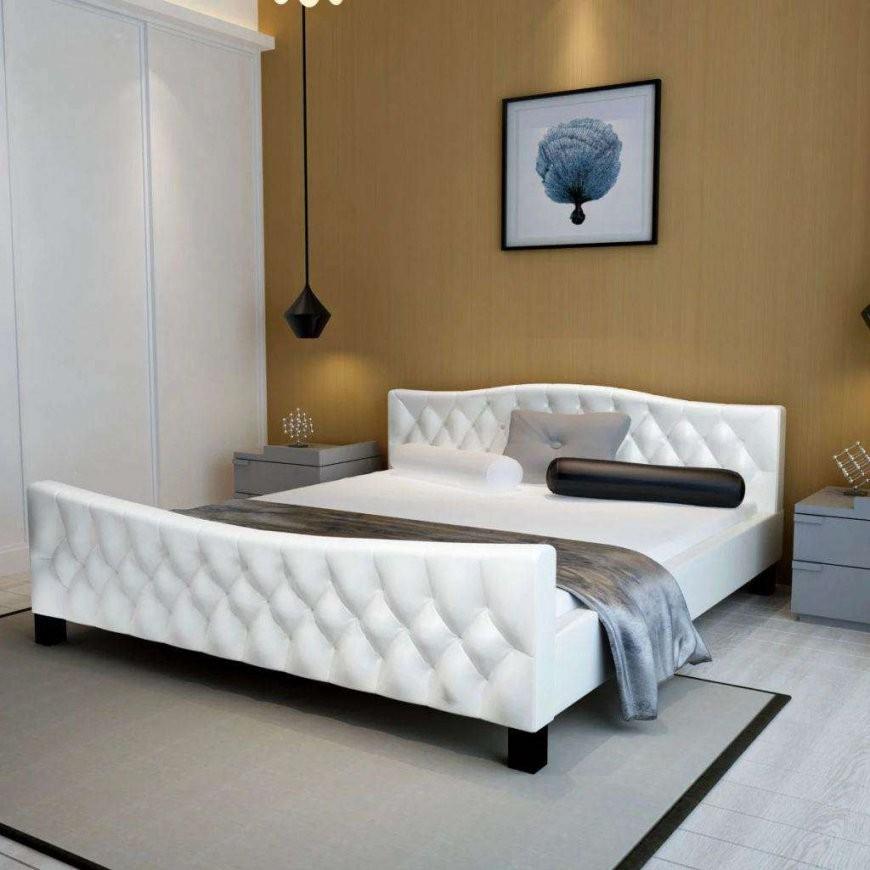 Neu Doppelbett Mit Matratze Kunstleder Weiß 140X200 Cm  Lits & Matelas von Kunstleder Bett Weiß 140X200 Bild